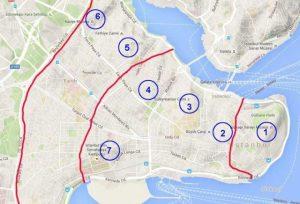 Harita üzerinden İstanbul'un 7 Tepesi