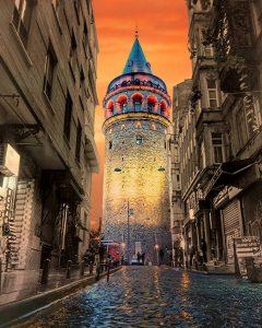 İstanbul'daki Galata Kulesinin Şık Fotoğrafı