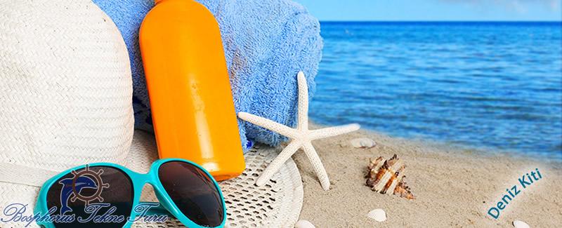 Güneş Kremi, Gözlük, Şapka gibi denize gireceklerin bulundurması gereken eşyalar.