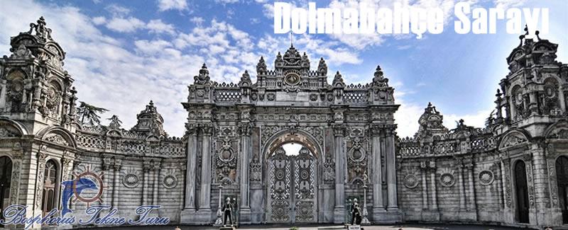 İstanbul Dolmabahçe Sarayının tarihi bir fotoğrafı
