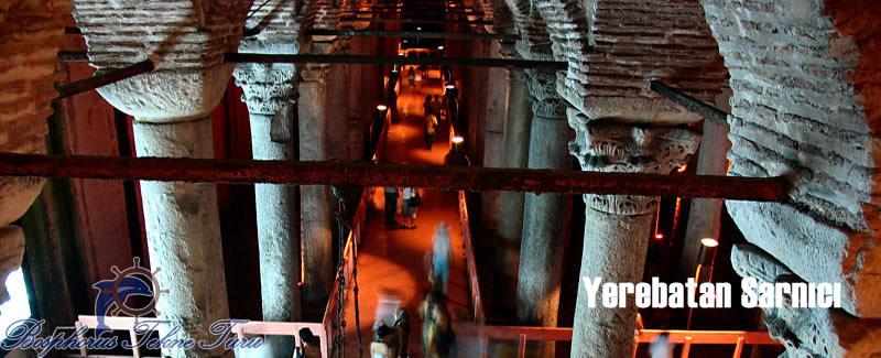 Yerebatan Sarnıcının içinden çekilmiş bir fotoğrafı